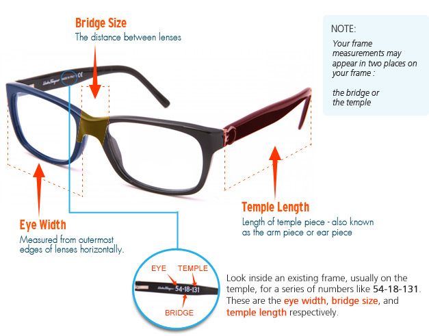 Eyeglass Frame Temple Size : Choose Best Eyeglass Frames by using Frame Measurements